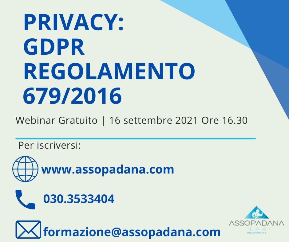 "Webinar Gratuito: ""PRIVACY: GDPR  REGOLAMENTO 679/2016"""
